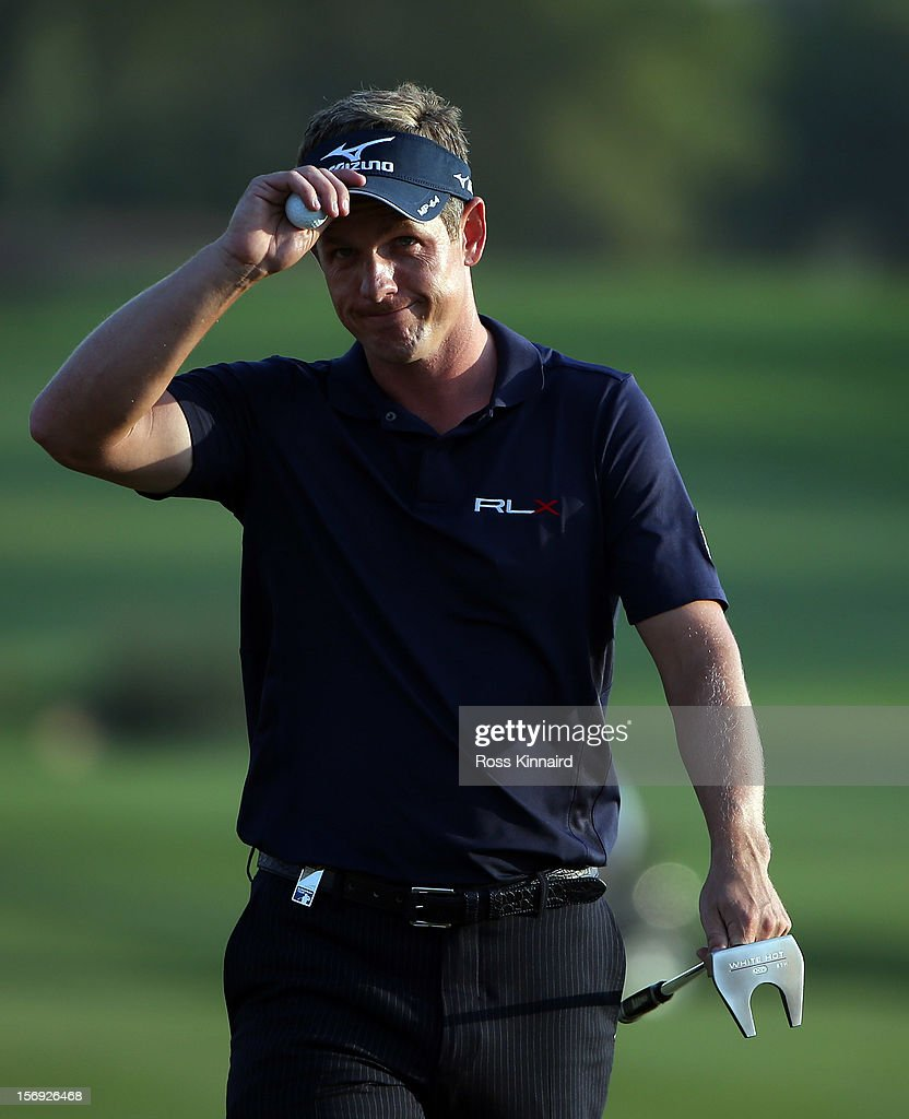 Luke Donald of England during the final round the DP World Tour Championship on the Earth Course at Jumeirah Golf Estates on November 25, 2012 in Dubai, United Arab Emirates.