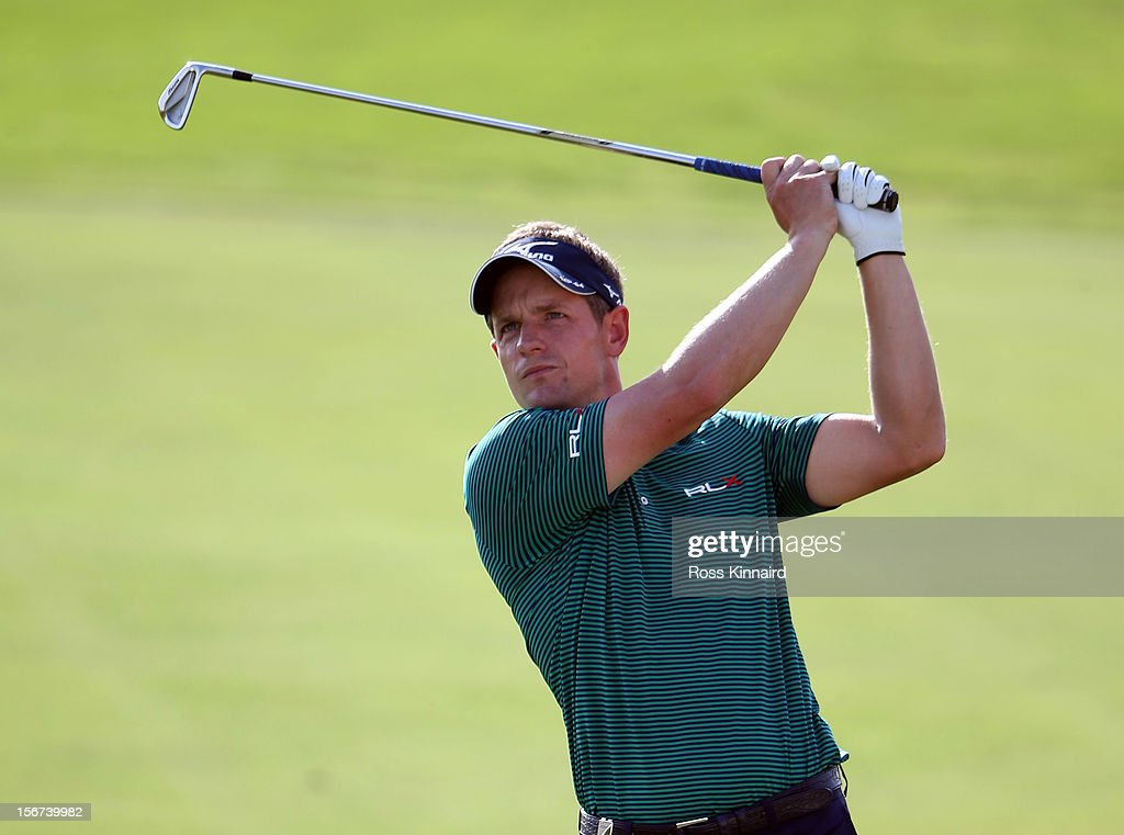Luke Donald of England during the pro-am event prior to the DP World Tour Championship on the Earth Course at Jumeirah Golf Estates on November 20, 2012 in Dubai, United Arab Emirates.
