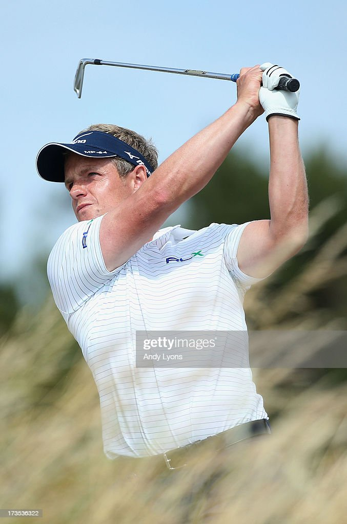 <a gi-track='captionPersonalityLinkClicked' href=/galleries/search?phrase=Luke+Donald&family=editorial&specificpeople=194977 ng-click='$event.stopPropagation()'>Luke Donald</a> of England hits a shot ahead of the 142nd Open Championship at Muirfield on July 16, 2013 in Gullane, Scotland.