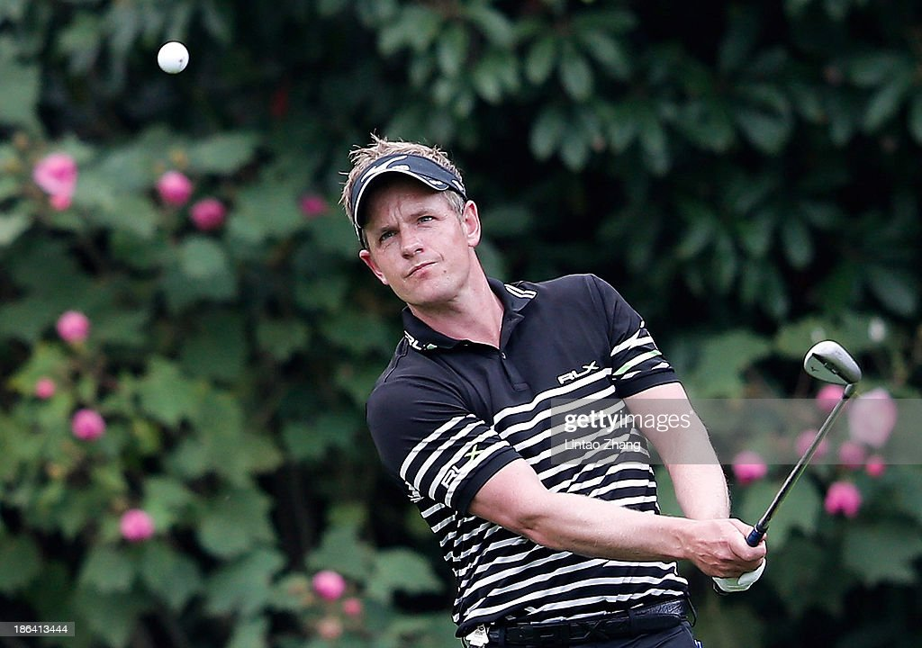 Luke Donald of England hits a tee shot during the first round of the WGC-HSBC Champions at the Sheshan International Golf Club on October 31, 2013 in Shanghai, China.