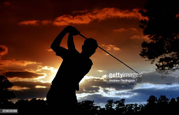 Luke Donald of England hits a tee shot on the 15th hole during the third round of The Masters at the Augusta National Golf Club on April 9 2005 in...