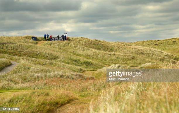 Luke Donald of England hits his tee shot on the fifth hole during the 2014 Aberdeen Asset Management Scottish Open at Royal Aberdeen on July 10 2014...