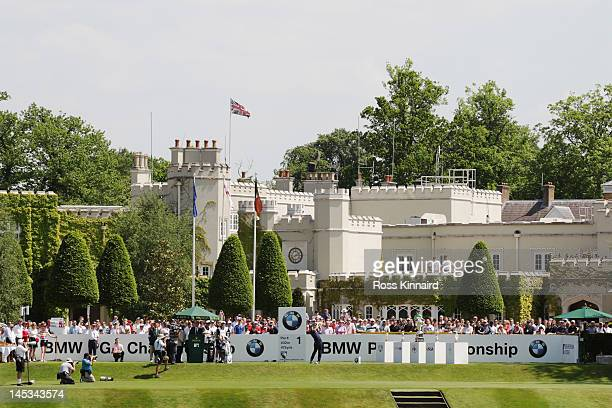 Luke Donald of England hits his tee shot on the first hole during the final round of the BMW PGA Championship on the West Course at Wentworth on May...