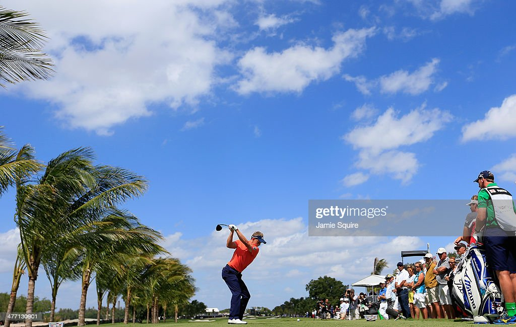 Luke Donald of England hits his tee shot on the second hole during the second round of the World Golf ChampionshipsCadillac Championship at Trump...