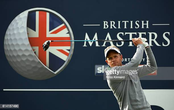 Luke Donald of England hits his tee shot on the third hole during the Hero ProAm at The Grove on October 12 2016 in Watford England
