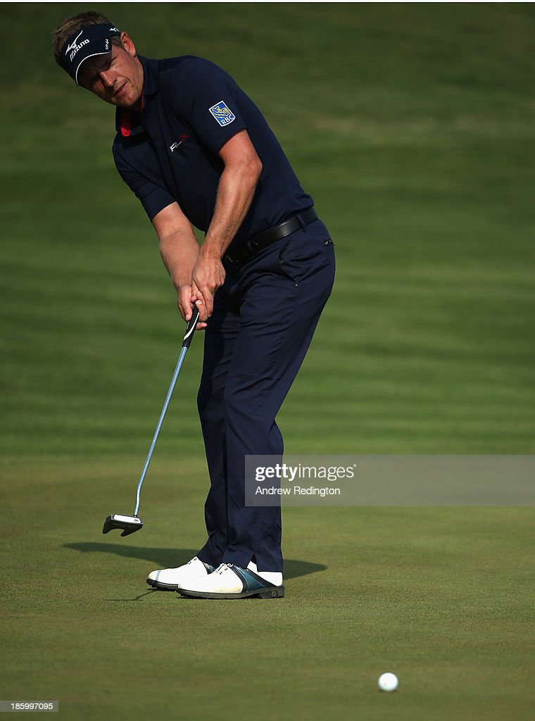 Luke Donald of England in action during the final round of the BMW Masters at Lake Malaren Golf Club on October 27, 2013 in Shanghai, China.