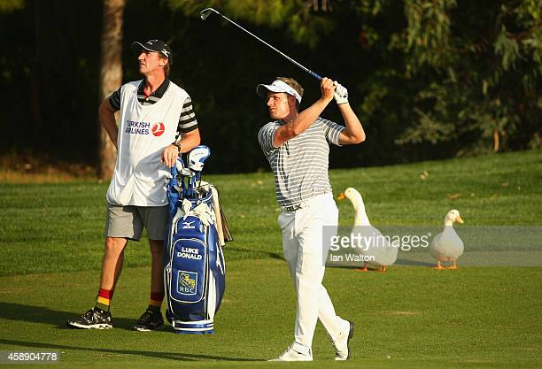 Luke Donald of England in action during the first round of the 2014 Turkish Airlines Open at The Montgomerie Maxx Royal on November 13 2014 in...