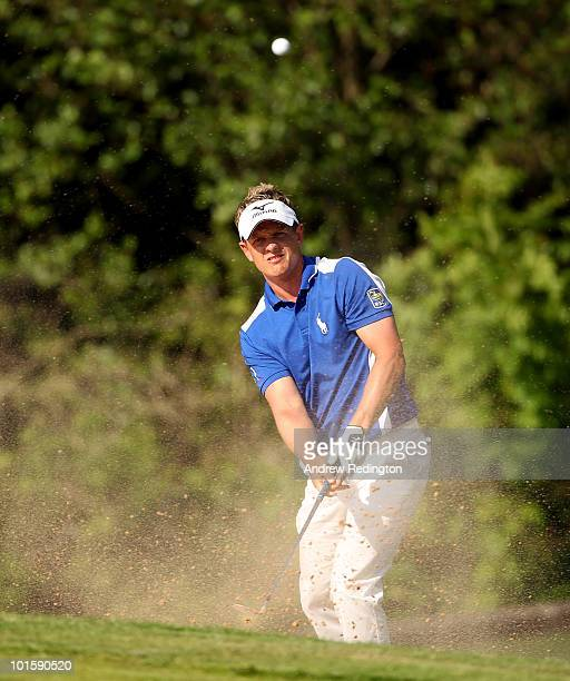 Luke Donald of England in action during the first round of the Celtic Manor Wales Open on The Twenty Ten Course at The Celtic Manor Resort on June 3...