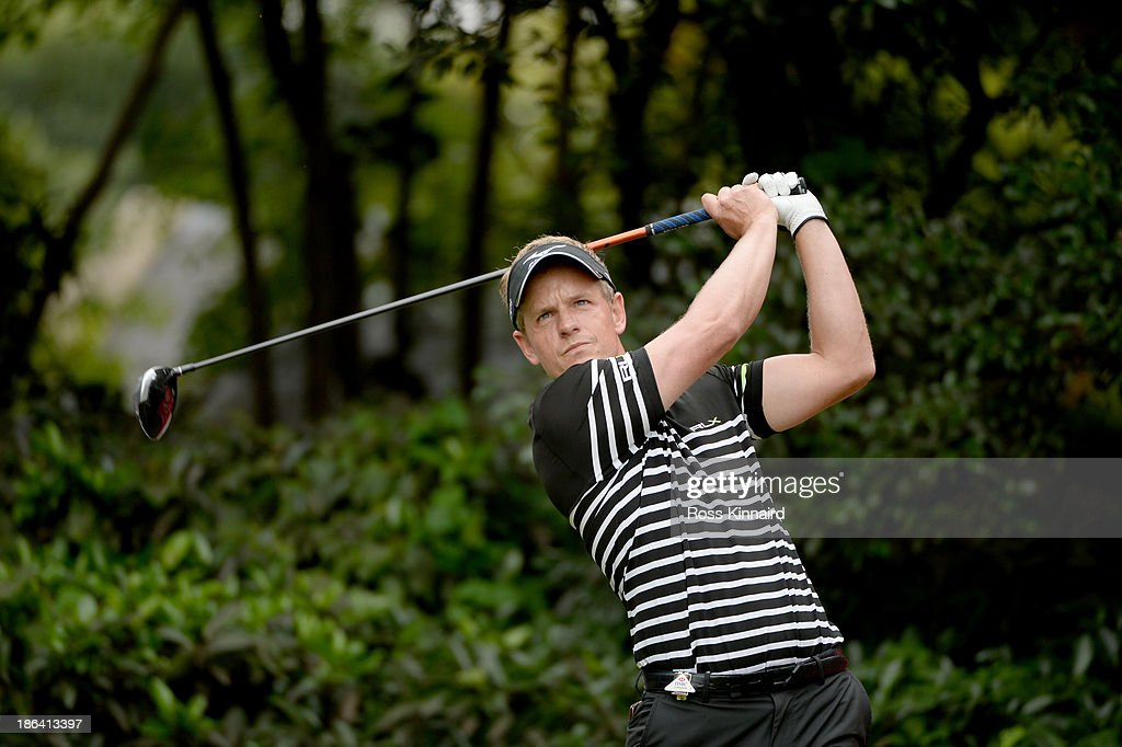 Luke Donald of England in action during the first round of the WGC - HSBC Champions at the Sheshan International Golf Club on October 31, 2013 in Shanghai, China.