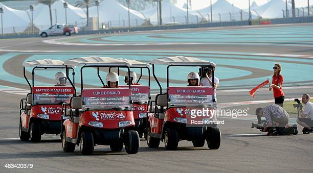 Luke Donald of England is in pole postion on the grig during the 'Buggy Race' at the Yas Marina Circuit prior to the Abu Dhabi HSBC Golf Championship...