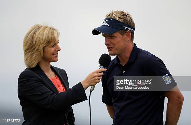 Luke Donald of England is interviewed by Hazel Irvine of the BBC following his victory at the end of the final round of The Barclays Scottish Open at...