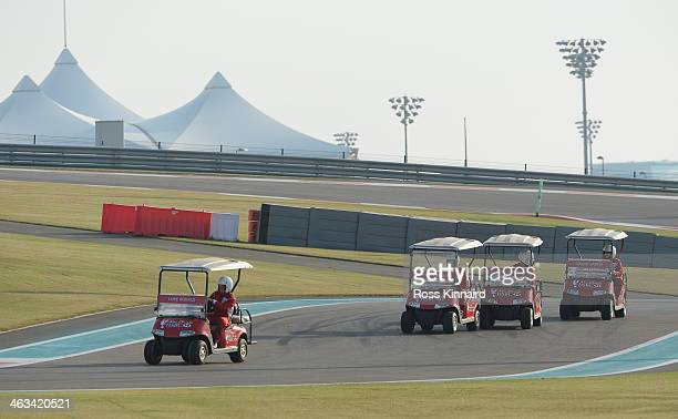 Luke Donald of England leads the field during the 'Buggy Race' at the Yas Marina Circuit prior to the Abu Dhabi HSBC Golf Championship on January 15...