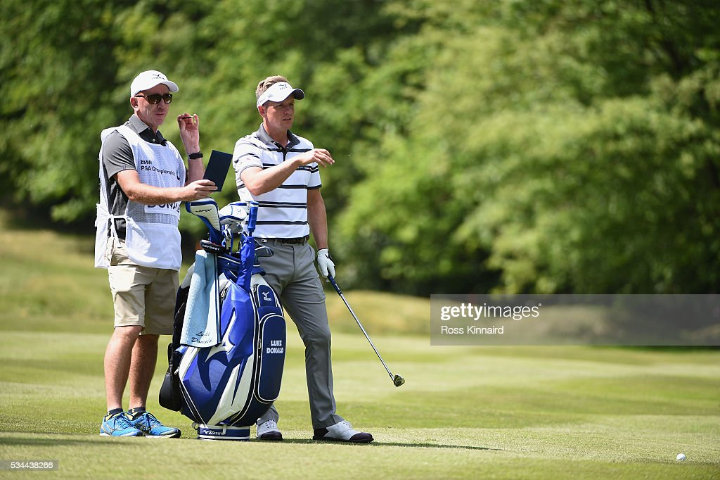 <a gi-track='captionPersonalityLinkClicked' href=/galleries/search?phrase=Luke+Donald&family=editorial&specificpeople=194977 ng-click='$event.stopPropagation()'>Luke Donald</a> of England looks on during day one of the BMW PGA Championship at Wentworth on May 26, 2016 in Virginia Water, England.