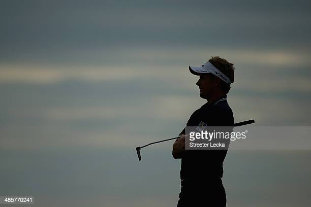 Luke Donald of England looks on from the 18th fairway during the final round of the RBC Heritage at Harbour Town Golf Links on April 20 2014 in...