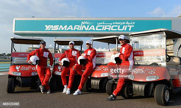 Luke Donald of England Paul Casey of England Sergio Garcia of Spain and Matteo Manassero of Italy before the 'Buggy Race' at the Yas Marina Circuit...