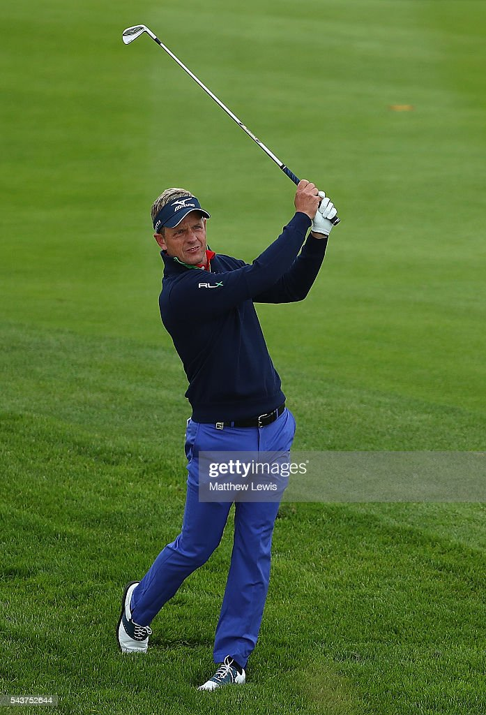 <a gi-track='captionPersonalityLinkClicked' href=/galleries/search?phrase=Luke+Donald&family=editorial&specificpeople=194977 ng-click='$event.stopPropagation()'>Luke Donald</a> of England plays a shot during day one of the 100th Open de France at Le Golf National on June 30, 2016 in Paris, France.