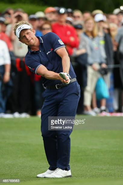 Luke Donald of England plays a shot on the 18th fairway during the final round of the RBC Heritage at Harbour Town Golf Links on April 20 2014 in...