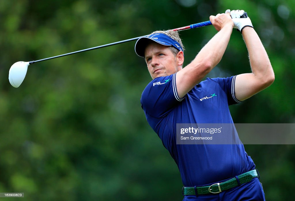 Luke Donald of England plays a shot on the 9th hole during the final round of the Tampa Bay Championship at the Innisbrook Resort and Golf Club on March 17, 2013 in Palm Harbor, Florida.