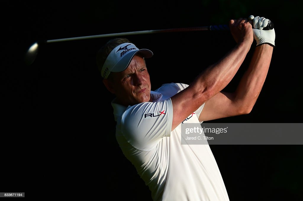 Luke Donald of England plays his tee shot on the second hole during the first round of the Wyndham Championship at Sedgefield Country Club on August 17, 2017 in Greensboro, North Carolina.