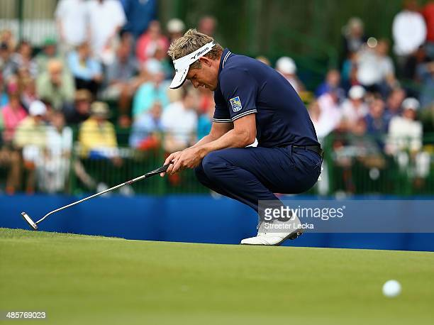 Luke Donald of England reacts on the 17th green during the final round of the RBC Heritage at Harbour Town Golf Links on April 20 2014 in Hilton Head...
