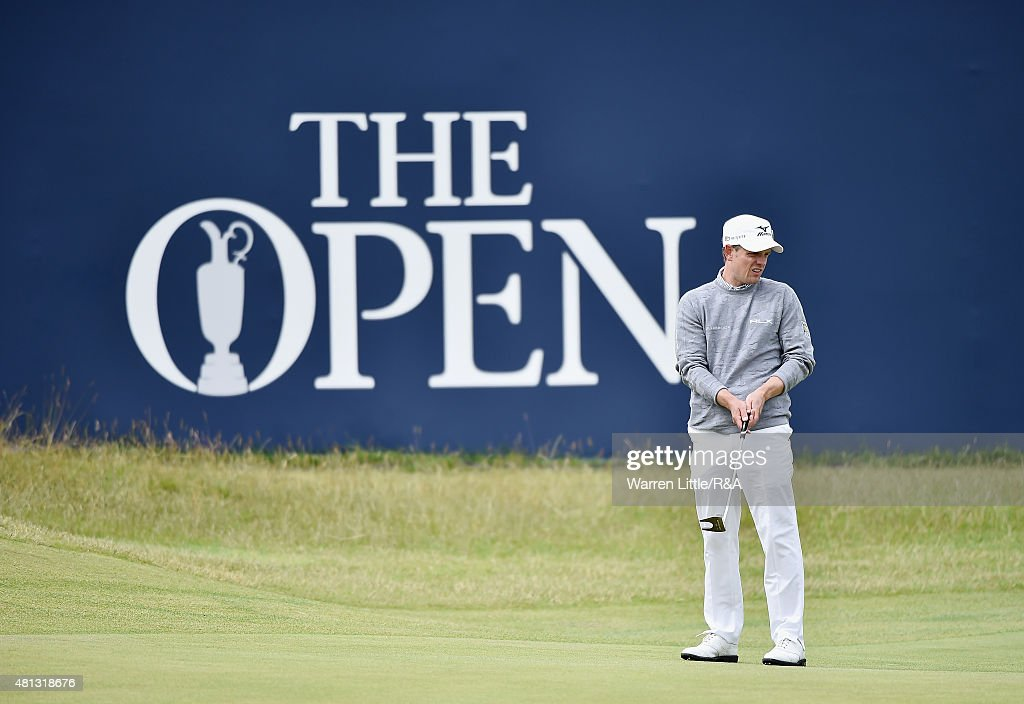 <a gi-track='captionPersonalityLinkClicked' href=/galleries/search?phrase=Luke+Donald&family=editorial&specificpeople=194977 ng-click='$event.stopPropagation()'>Luke Donald</a> of England reacts to a putt on the first green during the third round of the 144th Open Championship at The Old Course on July 19, 2015 in St Andrews, Scotland.