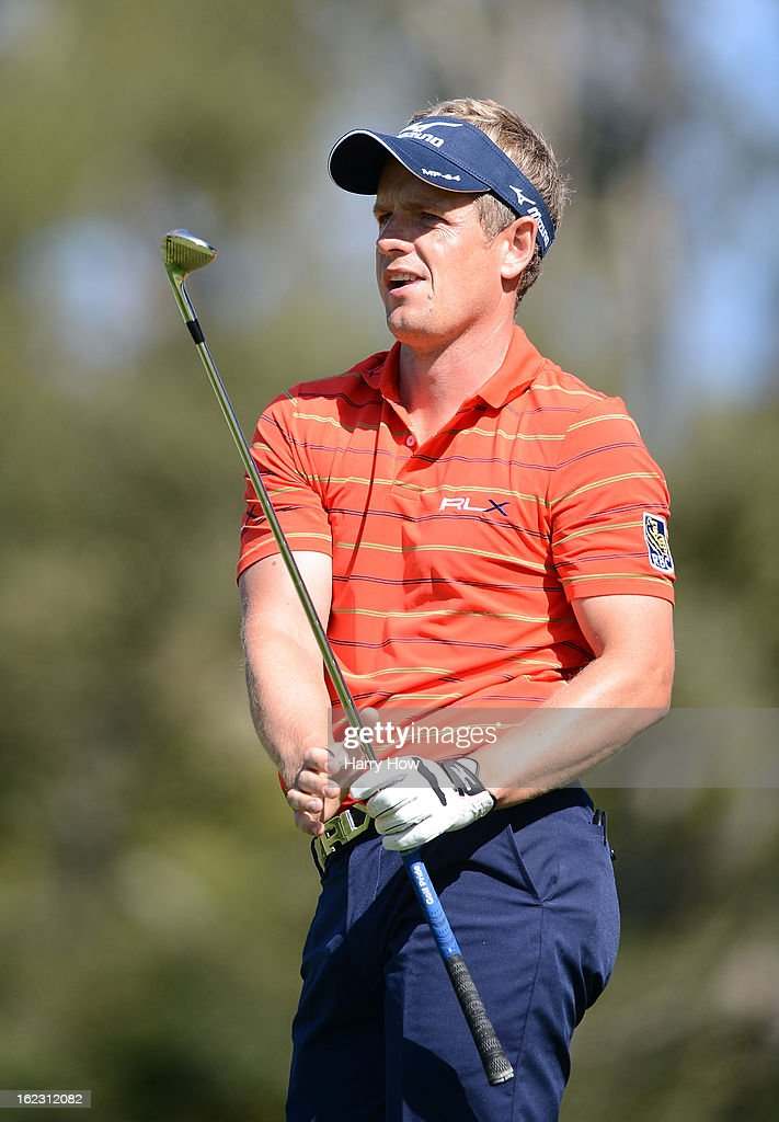 Luke Donald of England reacts to his shot on the fifth hole during the second round of the Northern Trust Open at the Riviera Country Club on February 15, 2013 in Pacific Palisades, California.