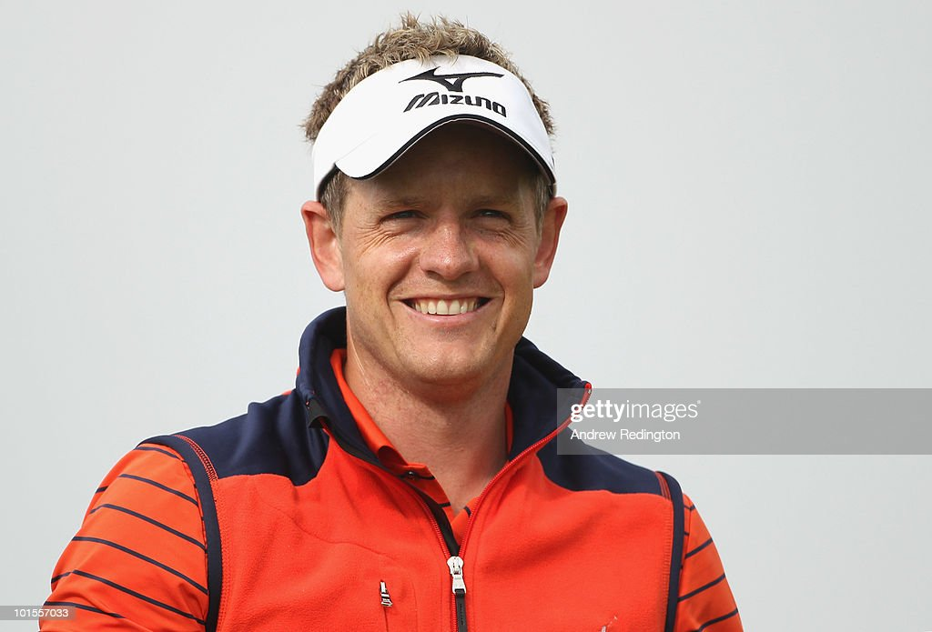 Luke Donald of England smiles on the first hole during the Pro Am prior to the start of the Celtic Manor Wales Open on The Twenty Ten Course at The Celtic Manor Resort on June 2 2010 in Newport, Wales.