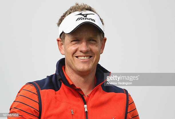 Luke Donald of England smiles on the first hole during the Pro Am prior to the start of the Celtic Manor Wales Open on The Twenty Ten Course at The...