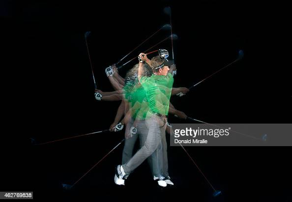 Luke Donald of England swings his driver in a studio portrait during the Farmers Insurance Open Pro Am on February 4 2015 at Torrey Pines Golf Course...