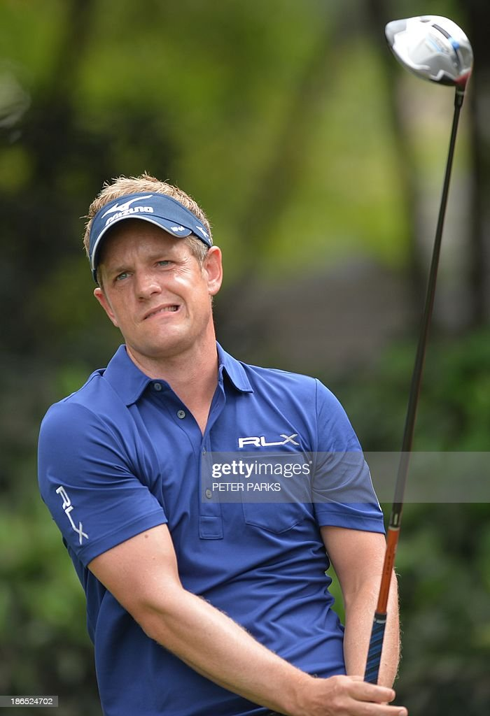 Luke Donald of England tees off at the 3rd hole during day two of the WGC-HSBC Champions tournament at the Shanghai Sheshan International Golf Club on November 1, 2013. AFP PHOTO/Peter PARKS