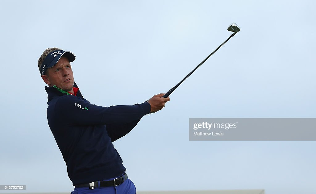 <a gi-track='captionPersonalityLinkClicked' href=/galleries/search?phrase=Luke+Donald&family=editorial&specificpeople=194977 ng-click='$event.stopPropagation()'>Luke Donald</a> of England tees off during day one of the 100th Open de France at Le Golf National on June 30, 2016 in Paris, France.