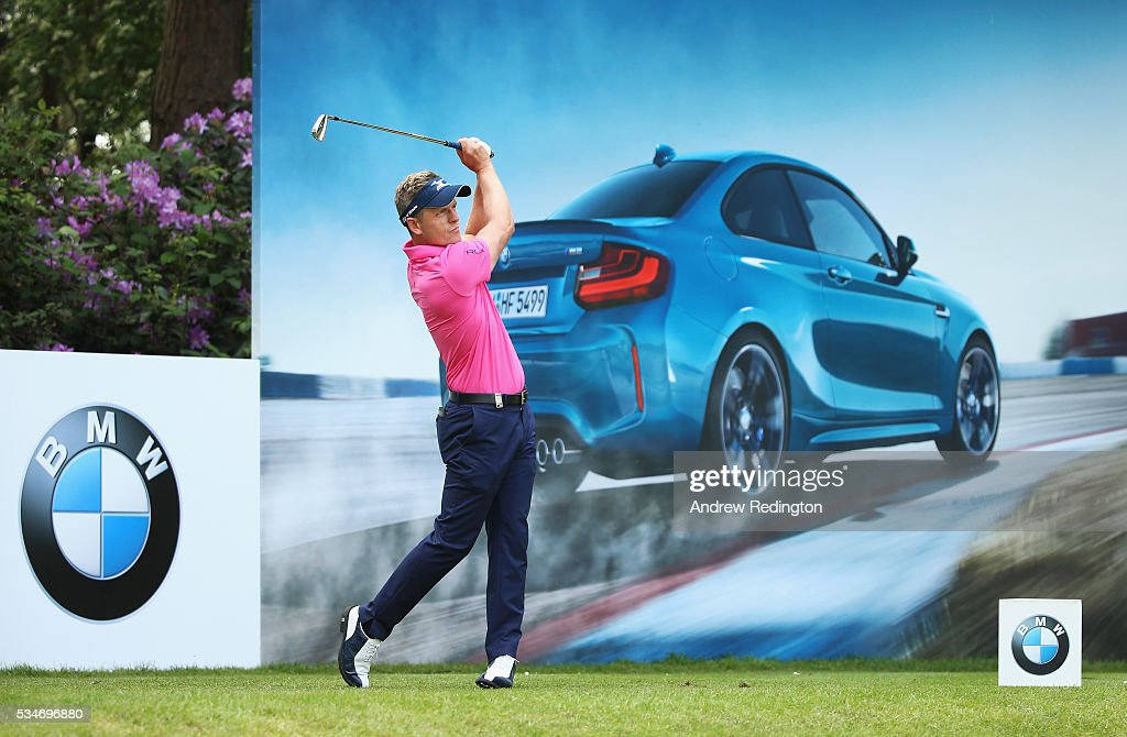 Luke Donald of England tees off on the 10th hole during day two of the BMW PGA Championship at Wentworth on May 27, 2016 in Virginia Water, England.