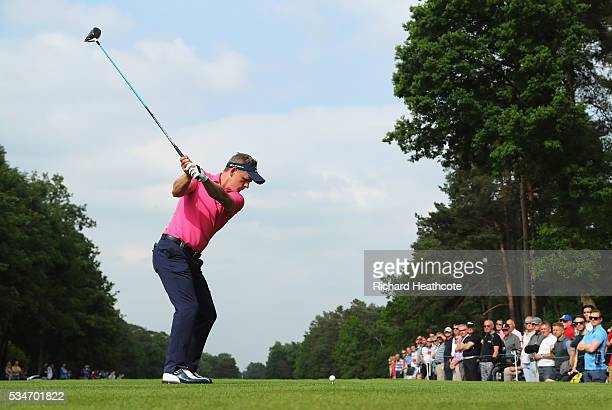Luke Donald of England tees off on the 15th hole during day two of the BMW PGA Championship at Wentworth on May 27 2016 in Virginia Water England