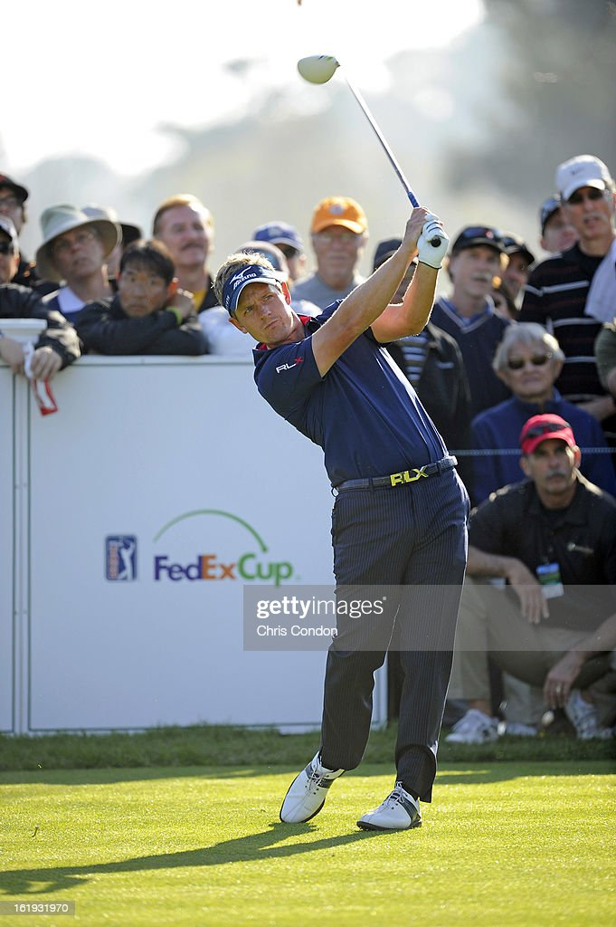 Luke Donald of England tees off on the 18th hole during the final round of the Northern Trust Open at Riviera Country Club on February 17, 2013 in Pacific Palisades, California.