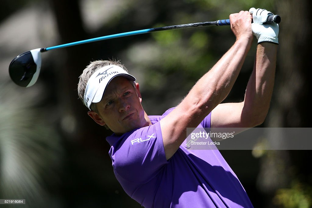 Luke Donald of England tees off on the second hole during the final round of the 2016 RBC Heritage at Harbour Town Golf Links on April 17 2016 in...