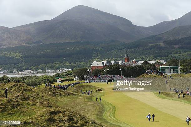 Luke Donald of England walks down the 9th hole during the First Round of the Dubai Duty Free Irish Open Hosted by the Rory Foundation at Royal County...