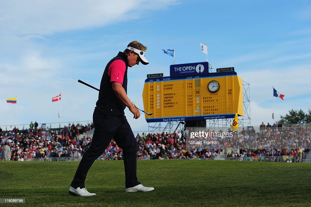 Luke Donald of England walks to the 18th green during the second round of The 140th Open Championship at Royal St George's on July 15, 2011 in Sandwich, England.
