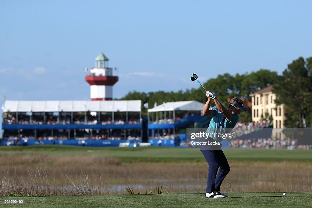 Luke Donald of Englang tees off on the 18th hole during the third round of the 2016 RBC Heritage at Harbour Town Golf Links on April 16, 2016 in Hilton Head Island, South Carolina.