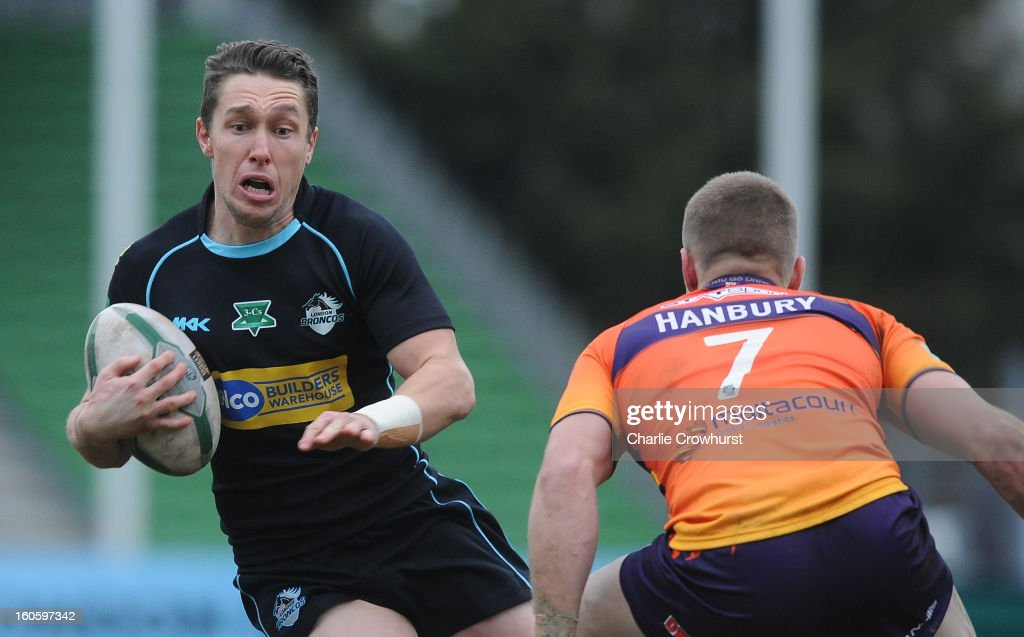 <a gi-track='captionPersonalityLinkClicked' href=/galleries/search?phrase=Luke+Dorn&family=editorial&specificpeople=2443137 ng-click='$event.stopPropagation()'>Luke Dorn</a> of London Broncos attacks during the Super League match between London Broncos and Widnes Vikings at the Twickenham Stoop on February 3, 2013 in London, England.