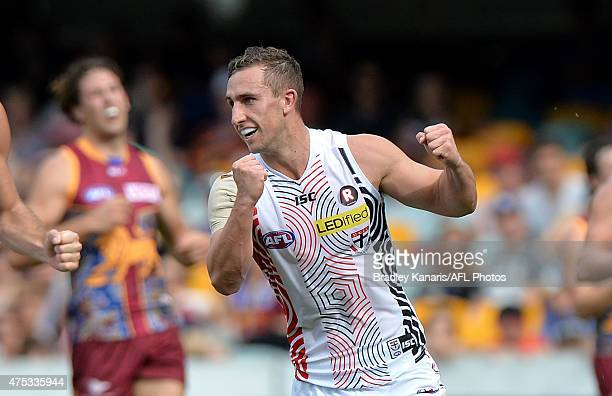 Luke Dunstan of the Saints celebrates a goal during the round nine AFL match between the Brisbane Lions and the St Kilda Saints at The Gabba on May...