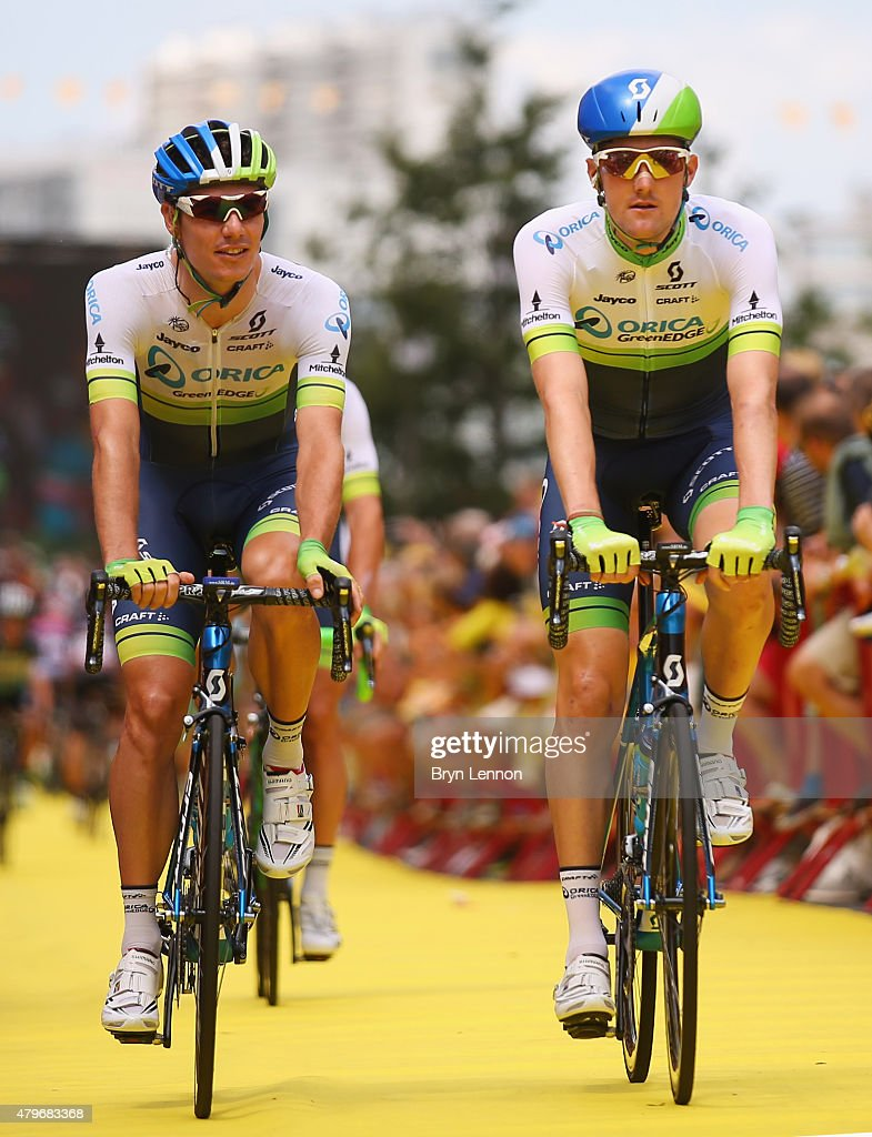 <a gi-track='captionPersonalityLinkClicked' href=/galleries/search?phrase=Luke+Durbridge&family=editorial&specificpeople=4866206 ng-click='$event.stopPropagation()'>Luke Durbridge</a> of Australia and Orica Greenedge (L) and <a gi-track='captionPersonalityLinkClicked' href=/galleries/search?phrase=Daryl+Impey&family=editorial&specificpeople=8630837 ng-click='$event.stopPropagation()'>Daryl Impey</a> of South Africa and Orica Greenedge ride ahead of the start of stage three of the 2015 Tour de France, a 159.5 km stage between Anvers and Huy, on July 6, 2015 in Anvers, Belgium.