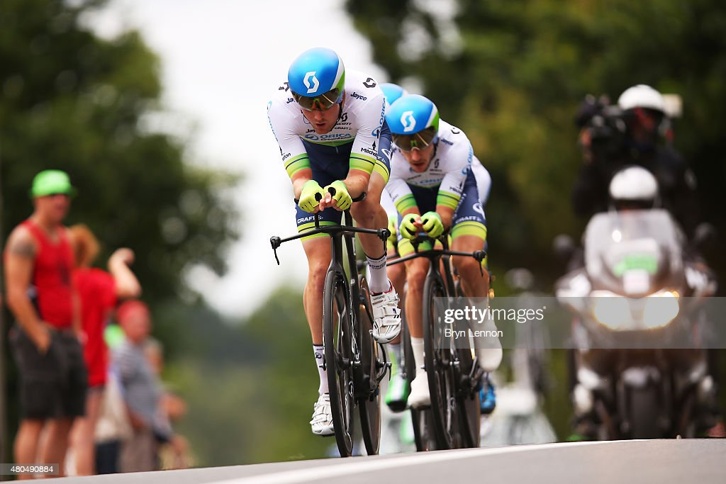 <a gi-track='captionPersonalityLinkClicked' href=/galleries/search?phrase=Luke+Durbridge&family=editorial&specificpeople=4866206 ng-click='$event.stopPropagation()'>Luke Durbridge</a> of Australia and Orica Greenedge leads teammate <a gi-track='captionPersonalityLinkClicked' href=/galleries/search?phrase=Adam+Yates+-+Cyclist&family=editorial&specificpeople=14775726 ng-click='$event.stopPropagation()'>Adam Yates</a> of Great Britain and Orica Greenedge during stage nine of the 2015 Tour de France, a 28km team time trial between Vannes and Plumelec on July 12, 2015 in Le Liziec, France.