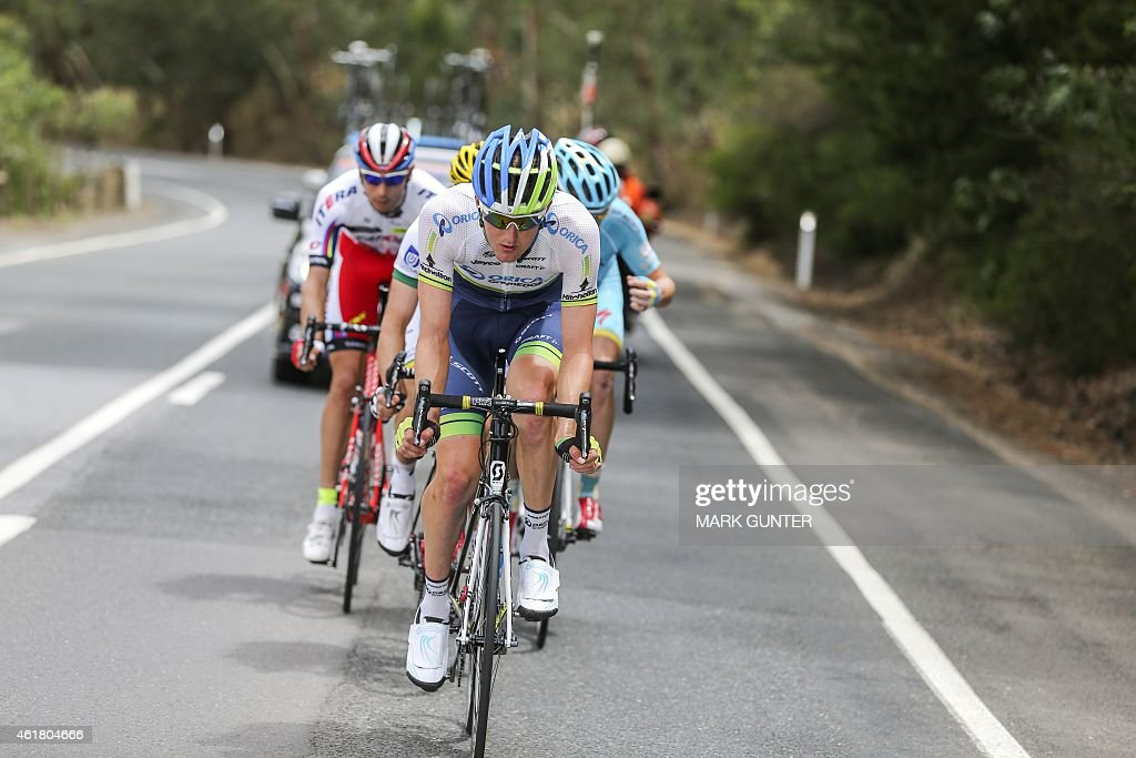 <a gi-track='captionPersonalityLinkClicked' href=/galleries/search?phrase=Luke+Durbridge&family=editorial&specificpeople=4866206 ng-click='$event.stopPropagation()'>Luke Durbridge</a> of Australia leads the break away during stage one of the 2015 Tour Down Under cycling competition in Adelaide on January 20, 2015. The Tour Down Under is being held between January 18 to 25.