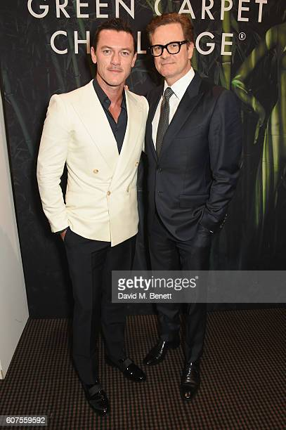 Luke Evans and Colin Firth attend the Green Carpet Challenge 2016 BAFTA Night to Remember on September 18 2016 in London England