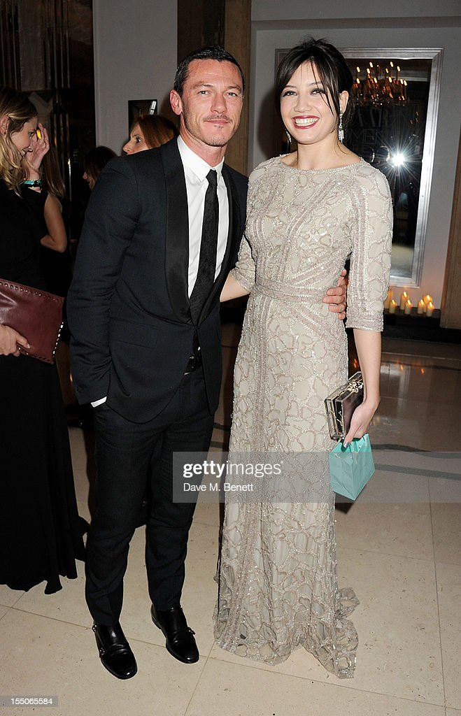 Luke Evans (L) and Daisy Lowe attend the Harper's Bazaar Women of the Year Awards 2012, in association with Estee Lauder, Harrods and Tiffany & Co., at Claridge's Hotel on October 31, 2012 in London, England.