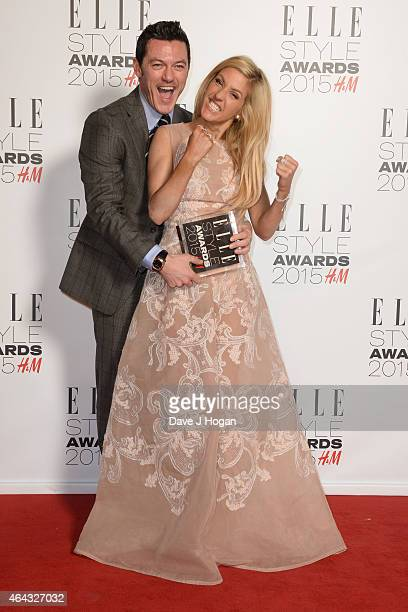 Luke Evans and Ellie Goulding pose in the Winners room with his award for Actor Of The Year at the Elle Style Awards 2015 at Sky Garden @ The Walkie...