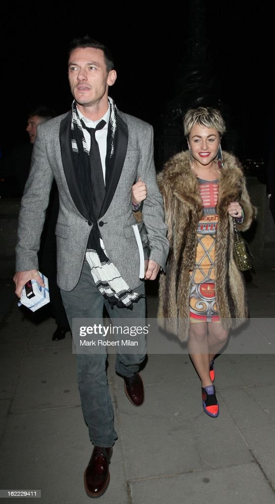 Luke Evans and <a gi-track='captionPersonalityLinkClicked' href=/galleries/search?phrase=Jaime+Winstone&family=editorial&specificpeople=834918 ng-click='$event.stopPropagation()'>Jaime Winstone</a> at the Warner Music in association with Vanity Fair BRITs aftershow party at The Savoy Hotel on February 20, 2013 in London, England.