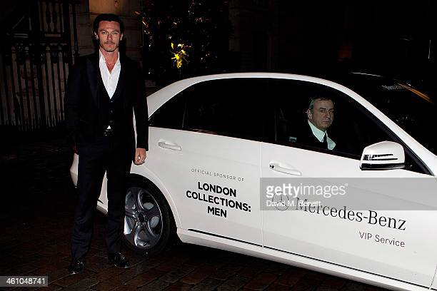 Luke Evans arrives for the London Collections Men Esquire party at Rosewood London on January 6 2014 in London England