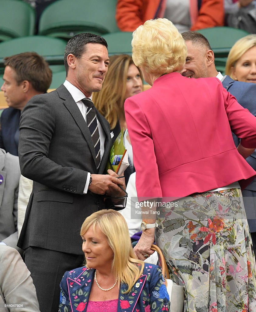Luke Evans attends day five of the Wimbledon Tennis Championships at Wimbledon on July 01, 2016 in London, England.