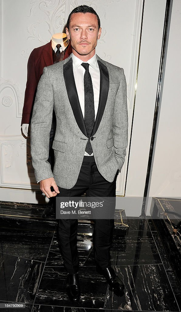 Luke Evans attends the launch of the Alexander McQueen Menswear boutique on Savile Row on October 25, 2012 in London, England.